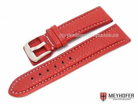 Watch band -Berlin- 24mm red grained surface white stitching by MEYHOFER (width of buckle 22 mm) - Bild vergrößern