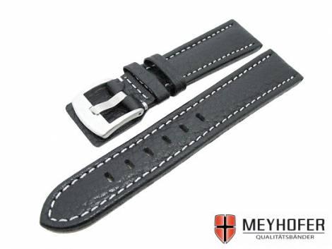 Watch band -Berlin- 22mm black grained surface white stitching by MEYHOFER (width of buckle 20 mm) - Bild vergrößern