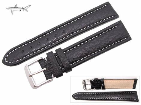 Watch band XL 20mm black genuine SHARK leather white seam (width of buckle 18 mm) - Bild vergrößern