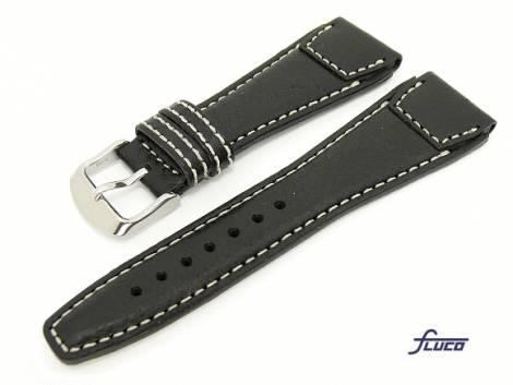 Watch band -Pilot- 20mm black robust white stitching aviator style by Fluco (width of buckle 16 mm) - Bild vergrößern