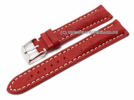 Watch band 20mm dark red genuine ostrich white stitching (width of buckle 18 mm) - Bild vergrößern