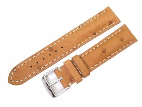 Watch band 18mm light brown genuine ostrich white stitching (width of buckle 16 mm) - Bild vergrößern