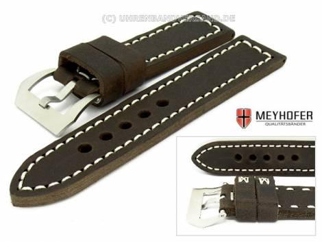 Watch band -Trondheim- 26mm dark brown antique-look by MEYHOFER (width of buckle 26 mm) - Bild vergrößern