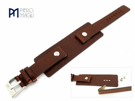 Watch band -Vitello FSL- 14mm brown grained surface with leather pad by Piero Magli - Bild vergrößern