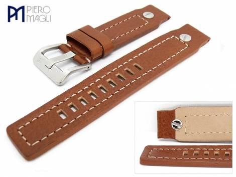 Watch band -Vitello Grain DSL - 20mm brown white stitching by Piero Magli (width of buckle 24 mm) - Bild vergrößern