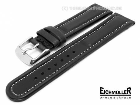 Watch band XL 20mm black waterproof white seam Eichmueller (width of buckle 18 mm) - Bild vergrößern