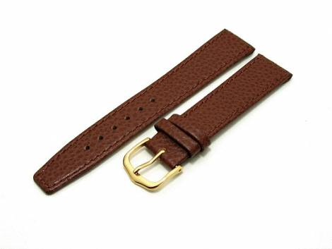 watch band 16mm for fixed bars brown grained surface by Eichmueller (width of buckle 14 mm) - Bild vergrößern