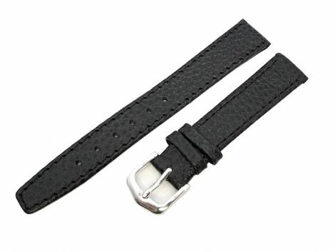 watch band 12mm for fixed bars black grained surface by Eichmueller (width of buckle 10 mm) - Bild vergrößern