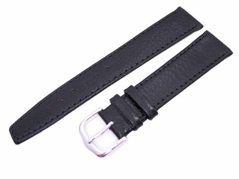 watch band 16mm for fixed bars black grained surface by Eichmueller (width of buckle 14 mm) - Bild vergrößern