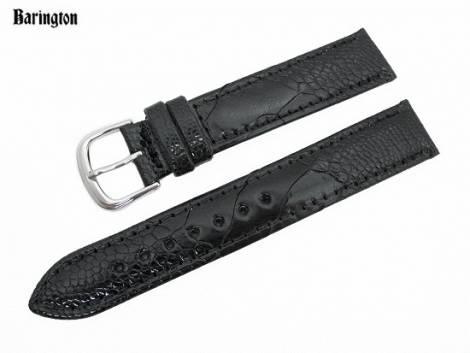Watch band 17mm black by Barington genuine ostrich leg (width of buckle 16 mm) - Bild vergrößern
