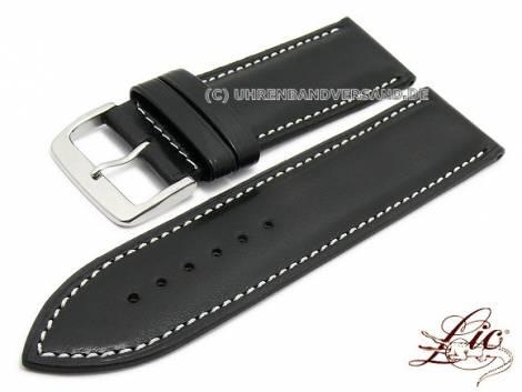 Watch strap -Calf Standard- 24mm black leather smooth light stitching by LIC Atelier (width of buckle 24 mm) - Bild vergrößern