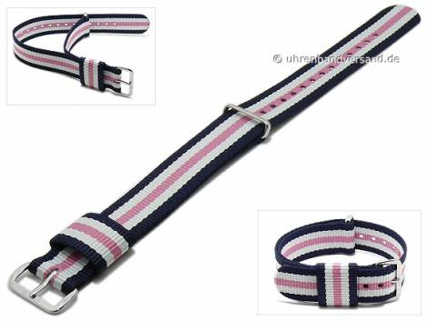 Replacement watch strap DANIEL WELLINGTON 18mm dark blue synthetic/textile white pink stripes for Classic Southampton - Bild vergrößern