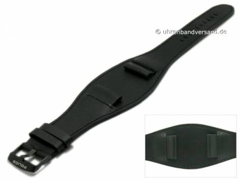 Replacement watch strap POLICE 22mm black leather smooth with leather pad (width of buckle 22 mm) - Bild vergrößern