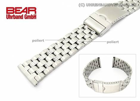 Stainless Steel watch band XL 22mm partly polished sporty-elegant from BEAR - Bild vergrößern