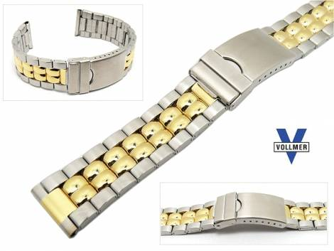 Watch band stainless steel dual tone 20mm deployant clasp partly polished elegant from Vollmer - Bild vergrößern