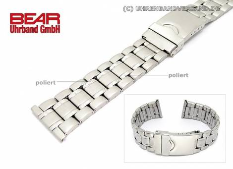 Stainless Steel watch band XL 22mm sandblasted partly polished sporty-elegant from BEAR - Bild vergrößern