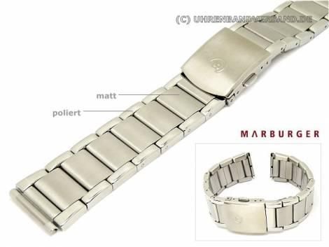 Watch band 20/22/24mm stainless steel solid-look partly polished mulitple ends Marburger - Bild vergrößern