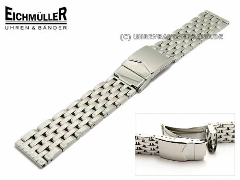 Watch band 18mm stainless steel solid polished with security clasp from Eichmueller - Bild vergrößern