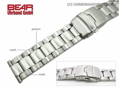 Stainless steel band 22mm solid partly polished plain-elegant from BEAR - Bild vergrößern