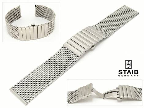 Watch band stainless steel 18mm mesh polished butterfly clasp by Staib - Bild vergrößern