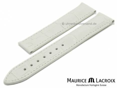 Watch strap original MAURICE LACROIX 19mm white leather alligator grain EASY-CLICK stitched - Bild vergrößern