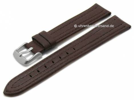 Watch strap 20mm dark brown goat leather grained stitched by MABRO Steel (width of buckle 18 mm) - Bild vergrößern