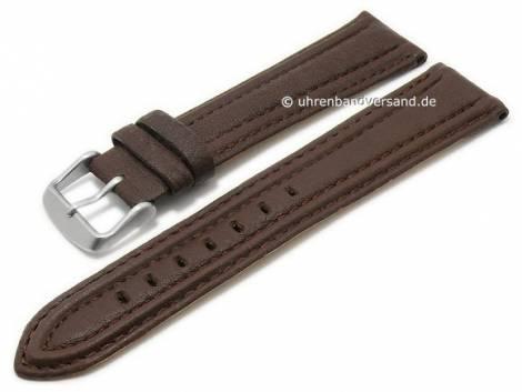 Watch strap 22mm dark brown goat leather grained stitched by MABRO Steel (width of buckle 20 mm) - Bild vergrößern