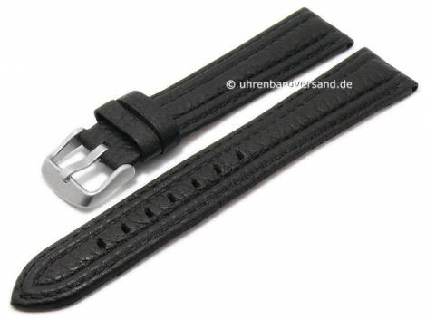 Watch strap 20mm black goat leather grained stitched by MABRO Steel (width of buckle 18 mm) - Bild vergrößern