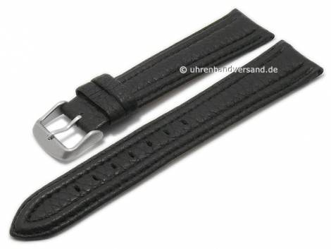 Watch strap 22mm black goat leather grained stitched by MABRO Steel (width of buckle 20 mm) - Bild vergrößern