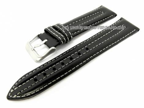 Watch strap 20mm black saddle leather smooth light double stitching by MABRO Steel (width of buckle 18 mm) - Bild vergrößern