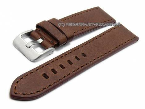Watch strap 22mm dark brown SHELL CORDOVAN leather grained stitched by MABRO Steel (width of buckle 20 mm) - Bild vergrößern