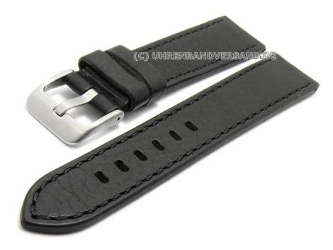 Watch strap 20mm black SHELL CORDOVAN leather grained stitched by MABRO Steel (width of buckle 18 mm) - Bild vergrößern