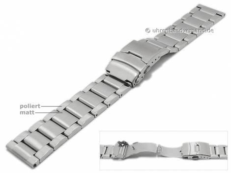 Watch strap 22mm stainless steel solid partly polished with security clasp by MABRO Steel - Bild vergrößern