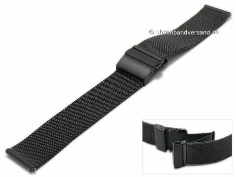 Watch strap 18mm mesh black easy change spring bars fine structure with slide clasp by MABRO Steel - Bild vergrößern