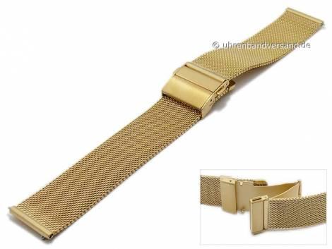 Watch strap 20mm mesh golden easy change spring bars fine structure with slide clasp by MABRO Steel - Bild vergrößern