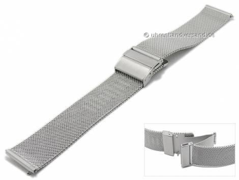 Watch strap 20mm mesh silver easy change spring bars fine structure with slide clasp by MABRO Steel - Bild vergrößern
