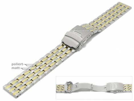 Watch strap 22mm dual tone titanium solid partly polished with security clasp by MABRO Steel - Bild vergrößern