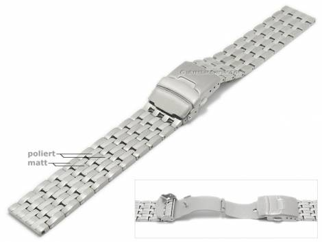 Watch strap 22mm titanium solid partly polished with security clasp by MABRO Steel - Bild vergrößern