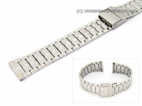 Watch band stainless steel 20mm elegant partly polished slide clasp - Bild vergrößern