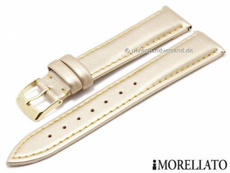 Watch strap -Trend- 16mm EASY-CLICK golden synthetic stitched GREEN COLLECTION by MORELLATO (width of buckle 14 mm) - Bild vergrößern