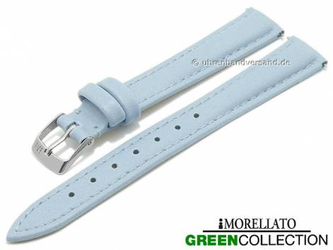 Watch strap -Trend- 14mm EASY-CLICK light blue synthetic stitched GREEN COLLECTION by MORELLATO (width of buckle 12 mm) - Bild vergrößern