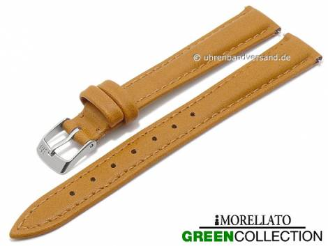 Watch strap -Trend- 14mm EASY-CLICK light brown synthetic stitched GREEN COLLECTION by MORELLATO (width of buckle 12 mm) - Bild vergrößern