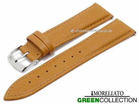 Watch strap -Trend- 16mm EASY-CLICK light brown synthetic stitched GREEN COLLECTION by MORELLATO (width of buckle 14 mm) - Bild vergrößern