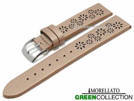 Watch strap -Flowers- 16mm rosé golden synthetic floral design GREEN COLLECTION by MORELLATO (width of buckle 14 mm) - Bild vergrößern