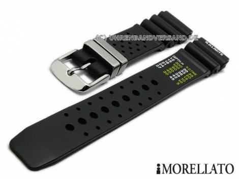 Watch strap 22mm black rubber (caoutchouc) diver strap with holes by MORELLATO (width of buckle 20 mm) - Bild vergrößern