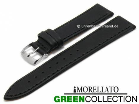Watch strap -Abete- 18mm black synthetic stitched GREEN COLLECTION by MORELLATO (width of buckle 16 mm) - Bild vergrößern