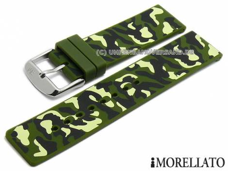 Watch strap -Camouflage- 20mm olive green/black silicone military look by MORELLATO (width of buckle 20 mm) - Bild vergrößern