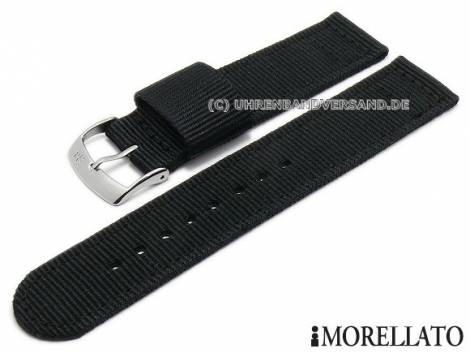 Watch strap -Badminton- 20mm black textile/synthetic military look stitched by MORELLATO (width of buckle 20 mm) - Bild vergrößern