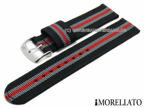 Watch strap -Badminton Linea- 18mm black textile/synthetic grey and red stripes by MORELLATO (width of buckle 18 mm) - Bild vergrößern