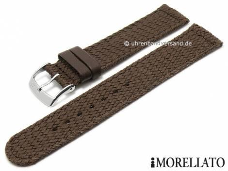Watch strap -Net- 24mm dark brown textile stitched by MORELLATO (width of buckle 22 mm) - Bild vergrößern